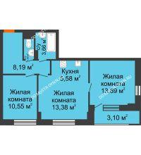 3 комнатная квартира 58,3 м², ЖК Каскад на Путейской - планировка