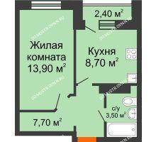 1 комнатная квартира 33,8 м² в ЖК Торпедо, дом № 1