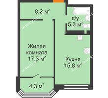 1 комнатная квартира 50,8 м² - ЖК Симфония Нижнего