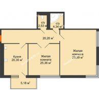 Студия 105,15 м², Жилой дом на ул. Платонова, 9,11 - планировка