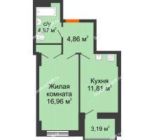 1 комнатная квартира 40,2 м² в ЖК Аврора, дом № 2 - планировка