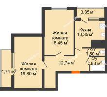 2 комнатная квартира 73,77 м², ЖК Дом у Самолета - планировка