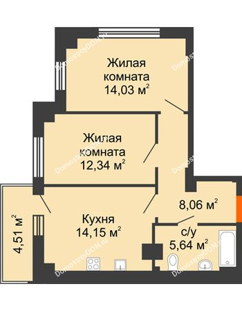 2 комнатная квартира 55,57 м² в ЖК Аврора, дом № 3