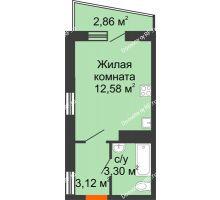 1 комнатная квартира 20,43 м² в ЖК Волна, дом 2 очередь (секция 4) - планировка