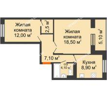 2 комнатная квартира 55,7 м² в ЖК Жюль Верн, дом № 1 корпус 1 - планировка