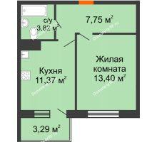 1 комнатная квартира 37,31 м² в ЖК Юго-Западный, дом ГП-1
