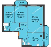 3 комнатная квартира 104,63 м² в ЖК Горизонт, дом № 2 - планировка