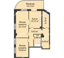 2 комнатная квартира 97,03 м² в ЖК Дом на Провиантской, дом № 12 - планировка