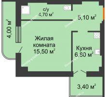 1 комнатная квартира 39,5 м² в ЖК Парк Островского 2, дом № 2 - планировка