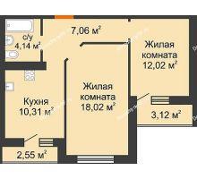 2 комнатная квартира 54,39 м² в ЖК Губернский, дом Литер 29 - планировка