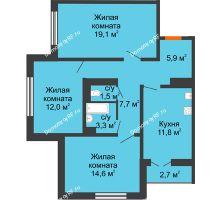 3 комнатная квартира 77,3 м² в ЖК по ул. Космонавтов, 23в , дом Позиция 2 - планировка