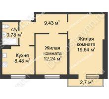 2 комнатная квартира 54,38 м² в ЖК Тридесятое, дом № 23 - планировка