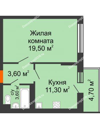 1 комнатная квартира 40,4 м² в ЖК Династия, дом Литер 2