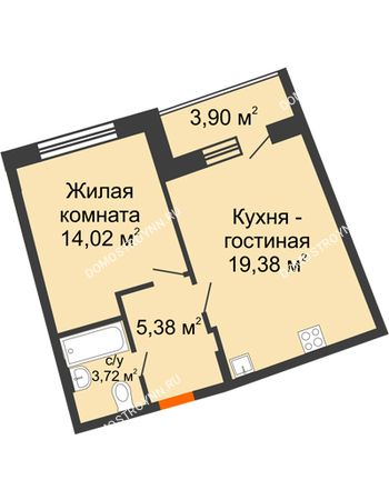 1 комнатная квартира 44,44 м² в ЖК Ватсон, дом № 3