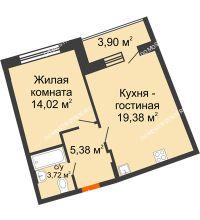 1 комнатная квартира 44,44 м² в ЖК Ватсон, дом № 3 - планировка