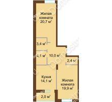 2 комнатная квартира 76,6 м² в ЖК Монолит, дом № 89, корп. 1, 2 - планировка