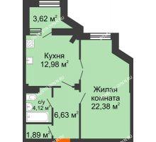 1 комнатная квартира 49,81 м² в ЖК Дом на Провиантской, дом № 12 - планировка