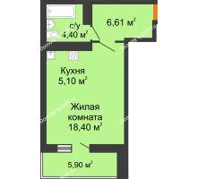 Студия 37,46 м² в ЖК Сокол на Оганова, дом Литер 6 - планировка