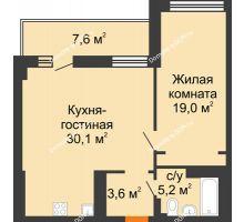 2 комнатная квартира 61,7 м² - ЖК Дом на 17-й Линии, 3