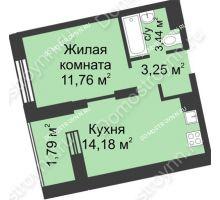 1 комнатная квартира 34,42 м² - ЖК Университетский
