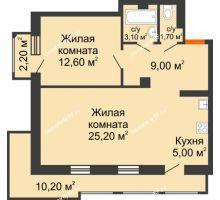 1 комнатная квартира 62,8 м², ЖК Утро - планировка