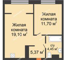 """2 комнатная квартира 40,62 м² в ЖК Европейский берег, дом ГП-9 """"Дом Монако"""" - планировка"""