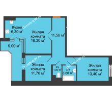3 комнатная квартира 69,1 м² в ЖК Перспектива, дом Литер 3.5 - планировка