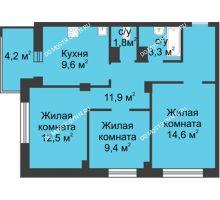 3 комнатная квартира 65,2 м² в ЖК Аквамарин, дом №2 - планировка