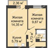 2 комнатная квартира 38,25 м², ЖК Каскад на Волжской - планировка