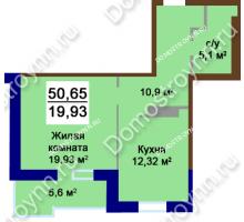 1 комнатная квартира 50,65 м², Жилой дом Приокский - планировка