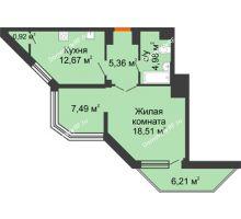 1 комнатная квартира 49,55 м² в ЖК Чернавский, дом 2 этап