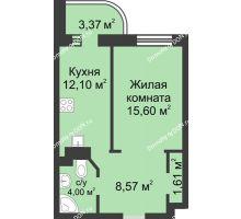 1 комнатная квартира 45,23 м², ЖК Петровская Крепость - планировка
