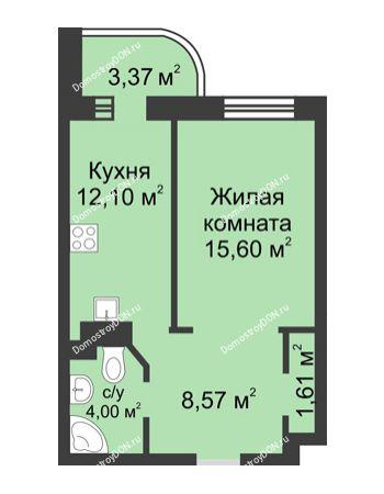 1 комнатная квартира 45,23 м² - ЖК Петровская Крепость