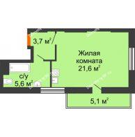 Студия 36 м², ЖК Космолет - планировка