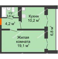 1 комнатная квартира 41 м² в ЖК Задонье, дом Позиция 2 - планировка