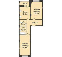 2 комнатная квартира 69 м² в ЖК Цветы, дом № 18 - планировка