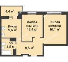 2 комнатная квартира 53,4 м² в ЖК Аквамарин, дом №2 - планировка
