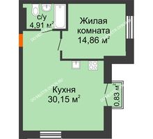 1 комнатная квартира 50,17 м², ЖК Шаляпин - планировка