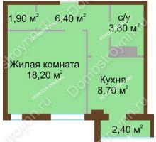 Студия 40,2 м², ЖК Северный Дворик - планировка