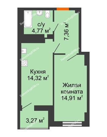 1 комнатная квартира 43 м² в ЖК Аврора, дом № 3