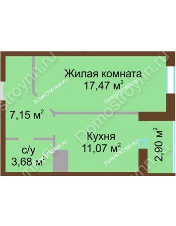 1 комнатная квартира 42,27 м² в ЖК Красная поляна, дом № 8