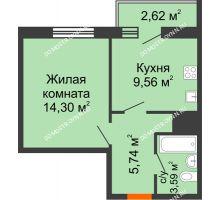 1 комнатная квартира 35,81 м² - ЖК Комарово