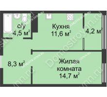 1 комнатная квартира 43,3 м² в ЖК Славянский квартал, дом № 5а, 7