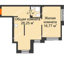 2 комнатная квартира 48,4 м² в Микрорайон Новая жизнь, дом позиция 19 - планировка