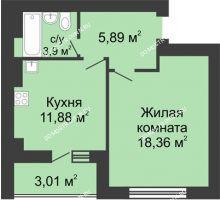 1 комнатная квартира 41,54 м² в ЖК Парк Горького, дом 62/2, №4